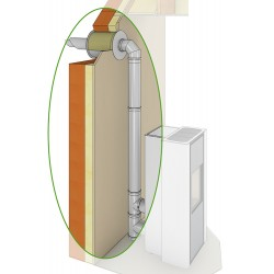 Conduit de cheminée double concentrique en raccordement ventouse pour poêle à granulés en Ø80/125 inox