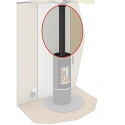 Conduit de cheminée double concentrique en raccordement ventouse pour poêle à granulés en Ø80/130 inox noir