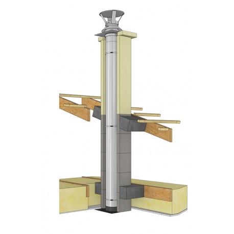 Tubage de conduit de cheminée en inox BI 316L - Conduit Ø80 de 4m de hauteur