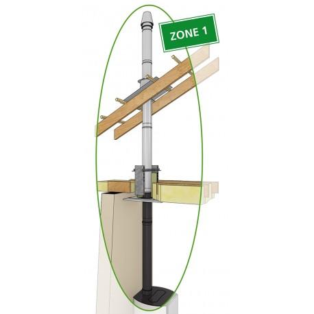 Conduit de cheminée double concentrique réglable en raccordement supérieur Zone 1 pour poêle à granulés en Ø80/125