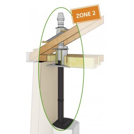 Conduit de cheminée double concentrique en raccordement supérieur Zone 2 pour poêle à granulés en Ø80/125